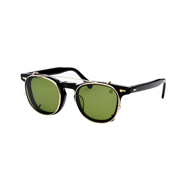 Lightweight clip-on polarizing sunglass (Gold trim with green lens)