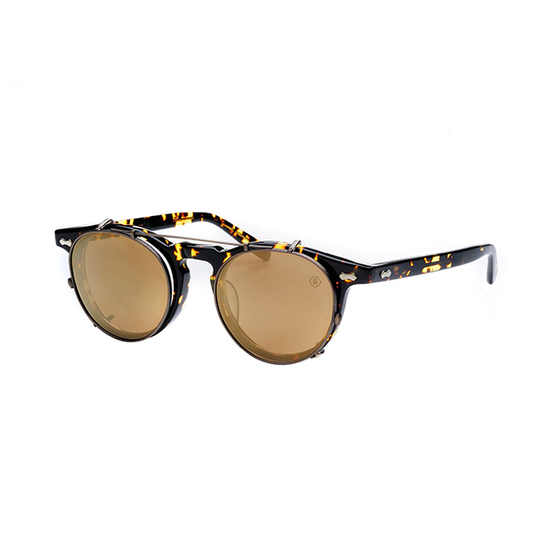 Light weight clip-on polarizing sunglass (Antique gold trim with gold mirror lens)